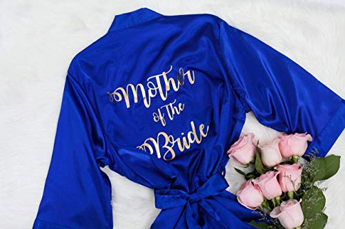 Joyma Belle Women's Silky Satin Robe for Mother of the Bride, Mother of the Groom, Bridesmaids and Bride, Royal Blue Satin Robe With Personalization, Bridal Party Gifts Ideas