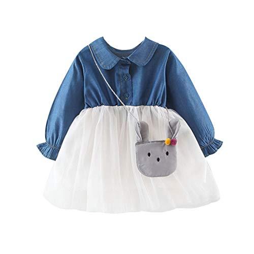 Muium Vêtements Bébé Filles Ensembles,Enfant en Bas âge bébé Enfants Filles Denim Patchwork Robe Tulle vêtements décontractés Sac Tenues