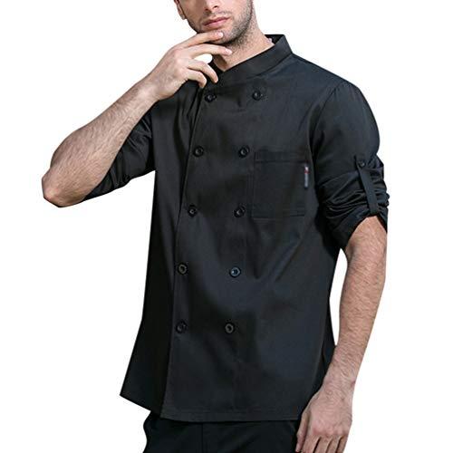 Dexinx Unisex Erwachsene Köche Jacke Mantel Hotel Küche Uniform 3/4 Ärmeln Food Service Koch Arbeitskleidung Chefs Catering Bekleidung Schwarz XL