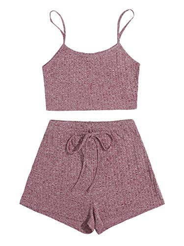 DIDK Pantalones cortos y tops para mujer, 2 piezas, tirantes finos, parte inferior de la barriga, pantalones cortos, traje de casa, conjunto de 2 piezas rojo, rosa S