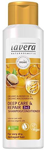 Lavera Haarverzorging, 2-in-1 shampoo/conditioner, droog, beschadigd haar, plantaardig, organisch haar, natuurlijke cosmetica, 250 ml