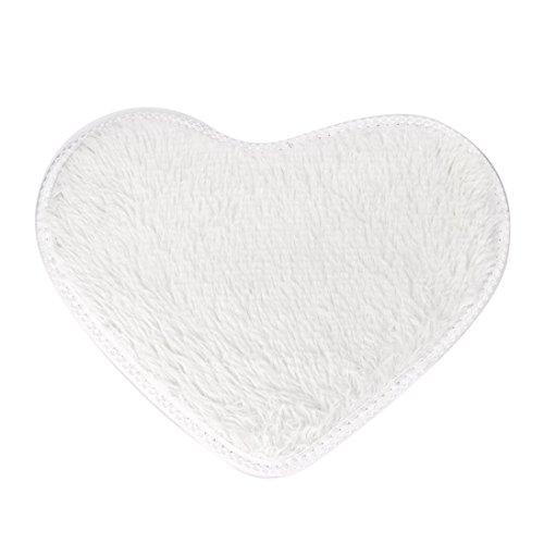 BZLine® Coeur Corail Polaire 40 * 28 cm Carprt Anti-dérapant Tapis De Bain Cuisine Salle De Bains Décor À La Maison (Blanc)