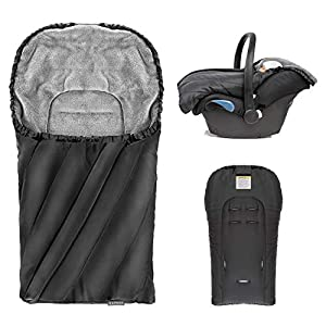 Zamboo - Saco de invierno DELUXE con forro polar térmico, capucha y bolsa para Sillas de Grupo 0+ - color Negro gris