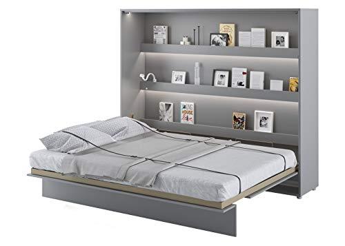 Schrankbett Bed Concept, Wandklappbett mit Lattenrost, V-Bett, Wandbett Bettschrank Schrank mit integriertem Klappbett Funktionsbett (BC-14, 160 x 200 cm, Grau/Grau, Horizontal)