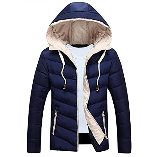 Stoota Men's Lightweight Waterproof Hooded Rain Jacket Coat, Outdoor Casual Parkas Warm Hooded Jacket for Hiking Travel