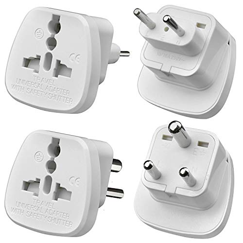 Gadgets Hut UK - [2Pcs] UK to India/Pakistan Travel Adapter, 3 Pin and 2 Pin Prong Plugs for Visitor from UK, EU, USA, Australia to India and Pakistan