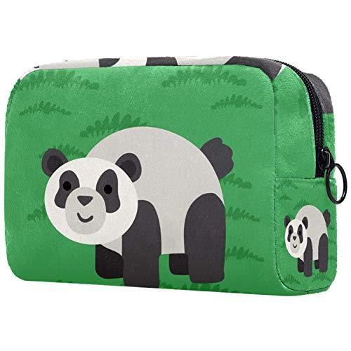 Yitian Grüne Pandan-Kosmetiktasche für Frauen, bezaubernde, geräumige Make-up-Taschen, Reise-Kulturbeutel