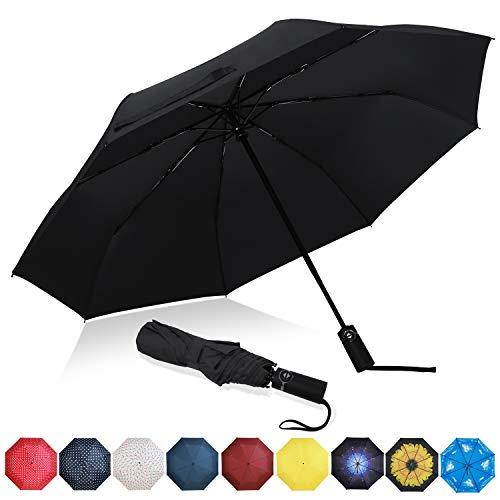 Eono Regenschirm Taschenschirm Kompakter Falt-Regenschirm, Winddichter, Auf-Zu-Automatik, Teflonbeschichtung, Verstärktes Dach, Ergonomischer Griff, Schirm-Tasche, Schwarz