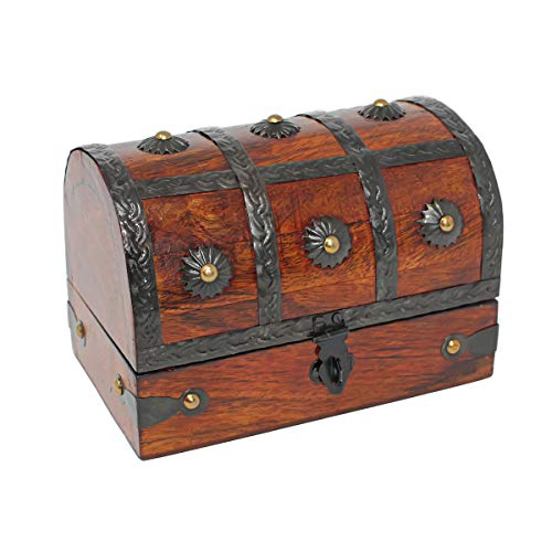 Nautical Cove Treasure Chest Keepsake and Jewelry Box Wood - Toy Treasure Box Medium (6.5x4.5x5)