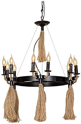 SFRIDQ Nuevo Retro 12-Cabeza Cuerda del cáñamo de la lámpara de Hierro Forjado Industrial luz Pendiente Utiliza para Decorar cafetería, Bar, Dormitorio, Sala de Estar E27