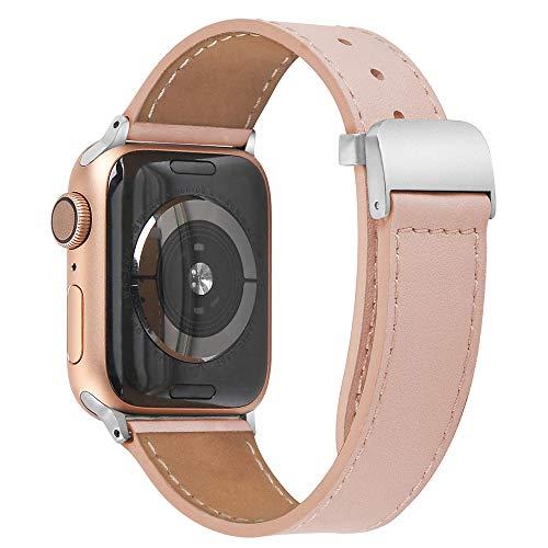 PUGO TOP Cinturino compatibile per Apple Watch Series 4 40mm 44mm Serie 3 2 1 38mm 42mm sportivo di ricambio per cinturino Iwatch Nike +, fibbia metallica in acciaio inossidabile(38mm/40mm Rosa)