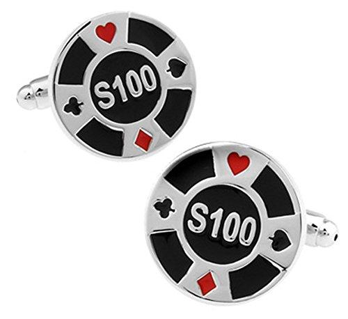 Poker Chip Manschettenknöpfe in einer luxuriösen Präsentationsbox. Neuheit, Kasino, Glücksspiel. Theme Schmuck