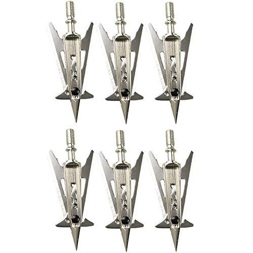 AMEYXGS Tiro con Arco Caza Cabezas Anchas 2 Blade Broadhead 100 Grain Arrow Heads Puntas de Flecha de Acero Inoxidable para Arco Compuesto de Ballesta (6 pcs)