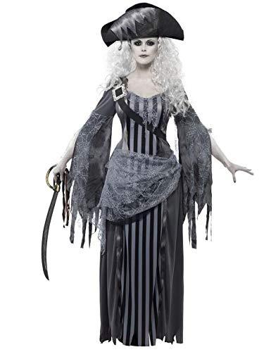 KULTFAKTOR GmbH Geister-Piratin Damenkostüm Halloweenkostüm grau-schwarz-Weiss M