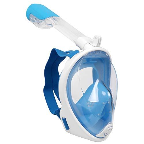 WANXJM Máscara de Buceo en seco Completo para Adultos, Tipo Plegable antivaho para esnórquel, respiración de esnórquel, Equipo de natación Seguro para Adultos jóvenes,Azul,L