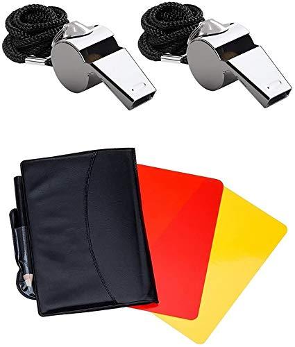 Friencity Deportes Árbitro conjunto tarjeta amarilla roja y 2 piezas de metal entrenador Árbitro Whistles granel, de acero inoxidable silbato para la Escuela de Deportes, fútbol, fútbol, baloncesto