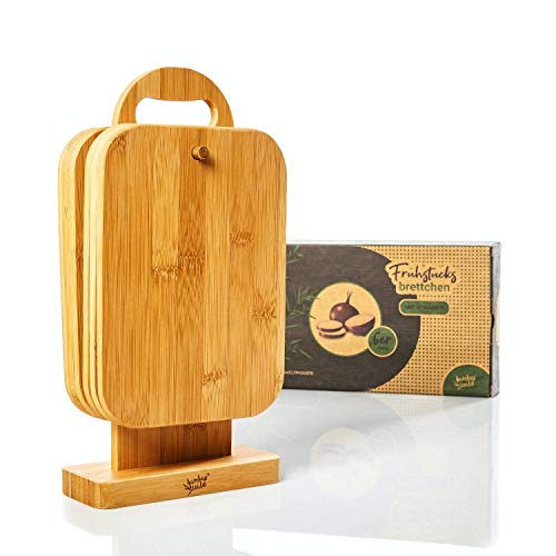 bambuswald eco-friendly 6 pieces set of breakfast boards with stand | 100% bambú sostenible - Breakfast boards Cutting boards Cutting board stand Wooden board