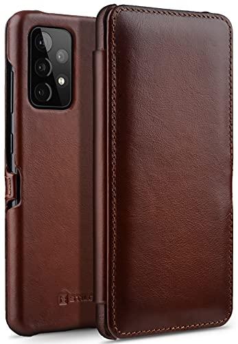 StilGut Book Hülle kompatibel mit Samsung Galaxy A52 und A52 5G Hülle aus Leder mit Clip-Verschluss, Lederhülle, Klapphülle, Handyhülle - Cognac Antik