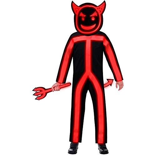 amscan 9907108 – Disfraz infantil de diablo luminoso, para niños y niñas, brilla en la oscuridad, disfraz de cuerpo entero, carnaval, fiesta temática, Halloween