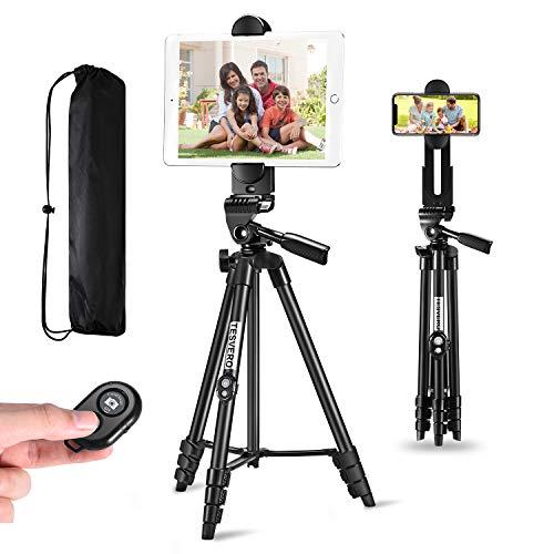 iPad Tripod,TESVERO 55' Extendable Aluminum Alloy Camera Tripod Stand with...
