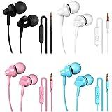 XHNFCU 4 Pares Auriculares In Ear, Auriculares estéreo con micrófono, Aislamiento de Ruido, Graves potentes, para Smartphones, MP3 y los dispositivos de auriculares de 3,5mm(Negro+Blanco+Rosa+Azul)