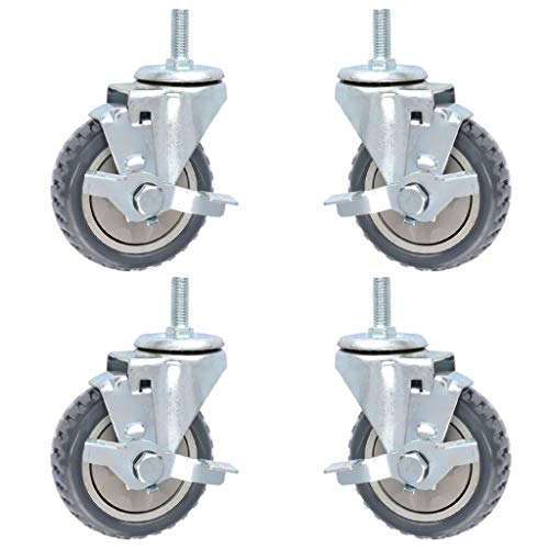 QQAA 4 Piezas Ruedas Pivotantes con Frenos, 3IN / 4IN / 5IN Ruedas para Muebles con Vástago Roscado M12, Capacidad de Carga 300kg / 661 LB