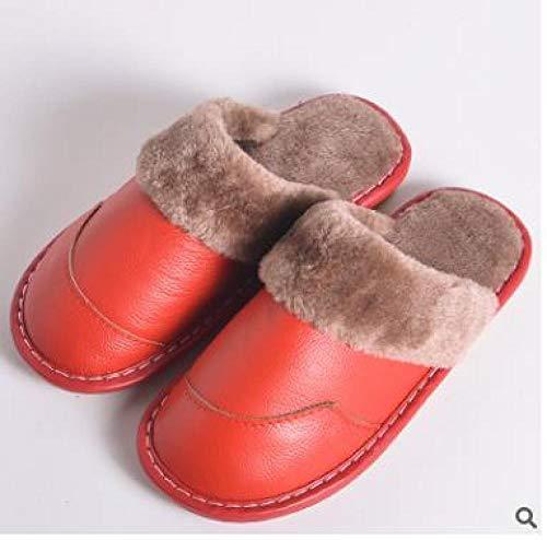 Zapatillas Casa Hombre Mujer Invierno Zapatillas Nuevas para Hombre, Zapatillas De Cuero para El Hogar, Antideslizantes, Zapatillas De Fondo Suave, Par De Hombres, Zapatillas De Algodón Cálidas P