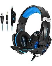 SOONHUA Trådbundna hörlurar lätt över örat headset tråd stereo brusreducering användning för bärbar dator PC dator Svart blå