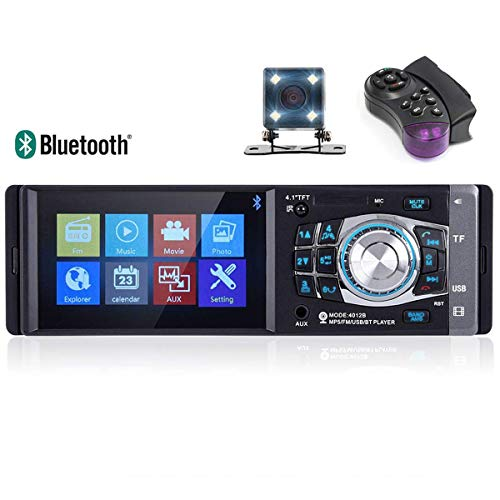 VIGORFLYRUN PARTS LTD Radio del Coche 4.1  1 DIN Auto Audio Estéreo Mirrorlink 12V MP4 Reproductor Estéreo, Autoradio Soporte SD TF USB FM Bluetooth con 4 LED Cámara de visión Trasera