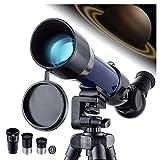 Telescopio para principiantes, niños y adultos, telescopio astronómico, refractor con trípode ajustable, adaptador de teléfono, filtro de luna, ideal para regalo de telescopio astronómico para niños