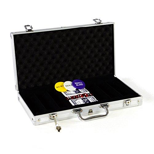 Pokerkoffer LEER für 300 Poker Chips inkl. Poker Zubehör mit 2 Sets Pokerkarten 5 Würfel Dealer Button Blinds Deutscher Anleitung Texas Holdem