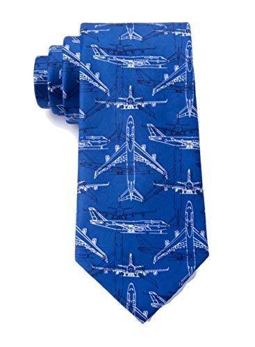Men's Microfiber Boeing 747 Airplane Plane Pilot Tie Necktie (Blue)