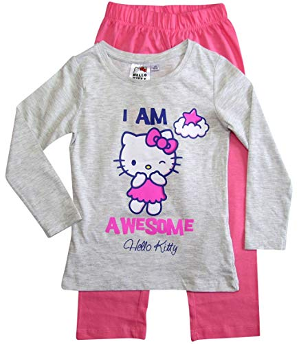 Hello Kitty Schlafanzug Mädchen Pyjama Lang (Grau-Fuchsia, 104)