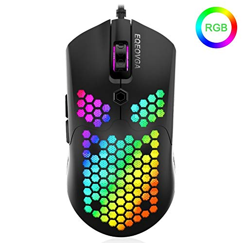 EQEOVGA D10 RGB, ratón Ligero para Juegos, Sensor óptico de 10000 PPP, con Carcasa de Panal de Abeja, Ultraligero y Cable Ultraligero (65 G)