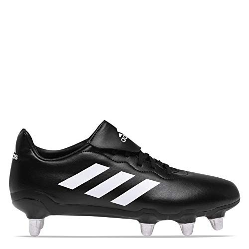 adidas Mens Rumble Soft Ground Rugby Boots Lace Up Padded Ankle Collar Studs Black/White UK 11.5 (46.5)