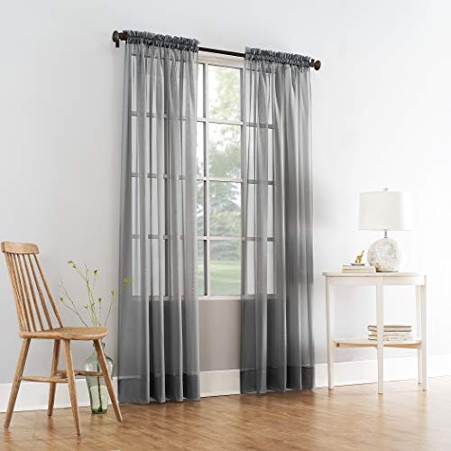 2 Pieces Beautiful Elegance Fully Stitched Window Sheer Voile Curtain Panel (Grey)