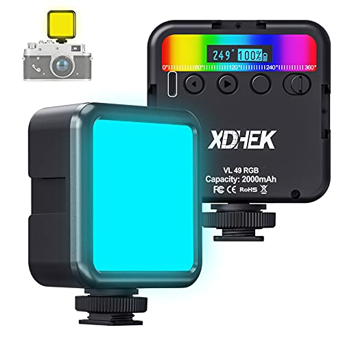 L49 RGB Mini LED Luz Video Color Cámara Iluminación W 3 Zapatos Fríos Imán 2000 mAh 2500-9000K Fotografía Portátil Vlog Luz Compatible con SLR Cámara Smartphone TikTok Youtube