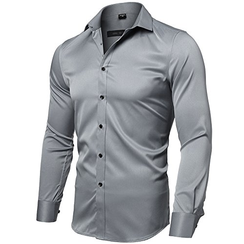 INFLATION Mens Dress Shirts Bamboo Fiber Slim Fit Long Sleeve Casual Button Down Shirts Wrinkle Free Dress Shirts for Men Gray