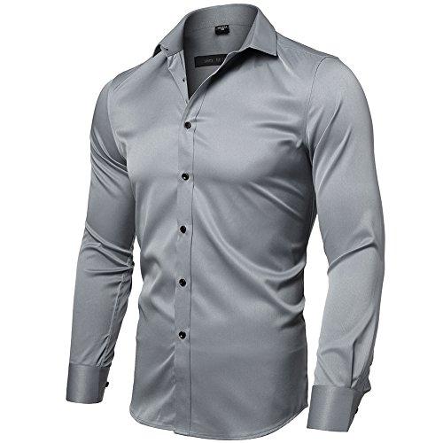 INFLATION herenoverhemd van bamboevezel, milieuvriendelijk, elastisch, slim fit, voor vrije tijd en bruiloft, pure kleur, hemd, lange mouwen, herenoverhemd, maat XXS-2XL, 15 kleuren