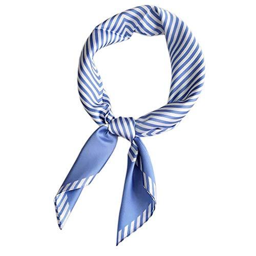 Bontand Las mujeres bufanda de seda del mantón impresiones de las rayas de satén pequeños cuadrados Cabeza Bolsa decorativo multicolor Pañuelos Pañuelo de cuello del abrigo