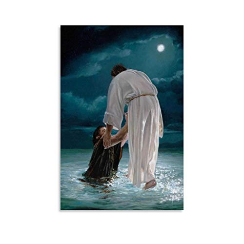 Etched In My Heart Jesus Walking on Water Poster Decorative Painting Canvas Wall Art Living Room Posters Bedroom Painting 16×24inch(40×60cm)
