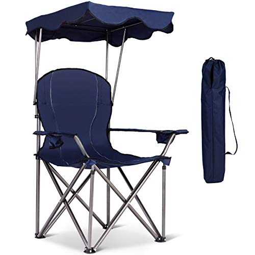 Goplus Outdoor Canopy Chair, Heavy Duty Camping Chair Durable Folding Seat w/Cup Holder and Carry Bag (Blue)
