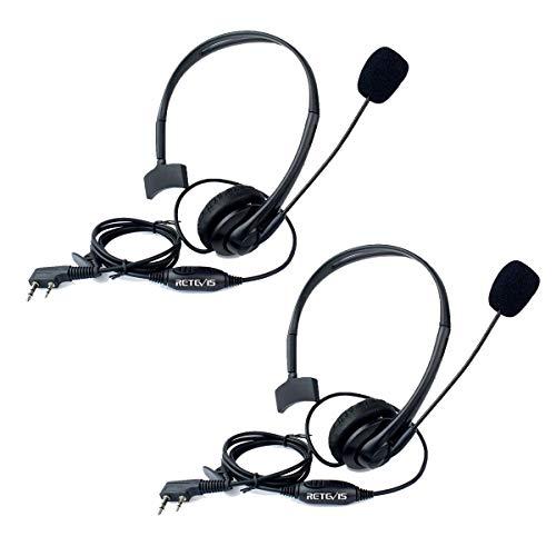 Retevis Auricular Diadema con Micrófono PTT 2 Pines Pinganillo Compatible con Walkie Talkie Retevis RT24 RT22 RT27 RT5R RT28 RT617 RT618 RT619 Baofeng BF-888S Kenwood TACKLIFE Proster T0036X2 (1 Par)