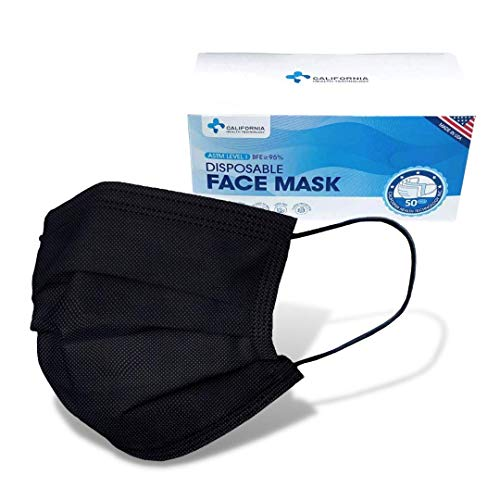 Made in USA - CHTUS Disposable Face Masks - 50 PCS - 3-Ply Breathable & Comfortable Safety Mask (Black)