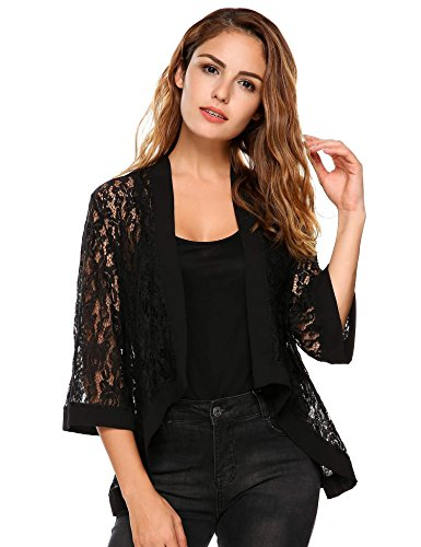 Open front cardigan, Floral lace, Asymmetric high low hem, 3 4 sleeve, Solid color, Cover up Soft breathable fabric, comfortable high quality touch, perfect for any season Stylish, sexy, loose fit wearing.Showing your charming temperament Suitable fo...