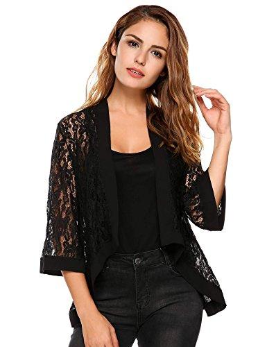 Zeagoo Women's Asymmetric Hem See Through Open Front 3 4 Sleeve Black Cardigan Cover up, Black, Large