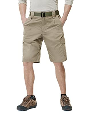 CQR Mens Hiking Tactical Shorts, Quick Dry Fishing Shorts, Lightweight Outdoor Rip-Stop EDC Assault Cargo Short, Tactical Shorts(tsp203) - Khaki, 36