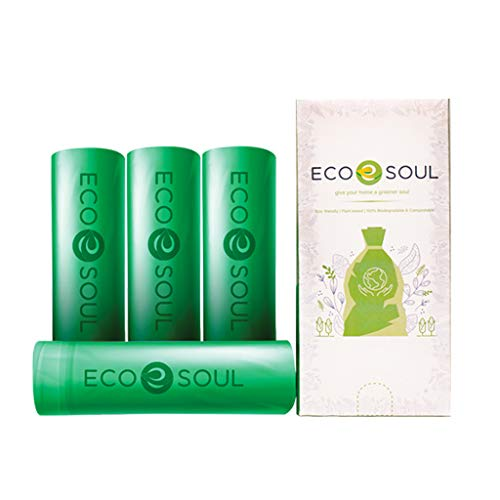 ECO SOUL100% Compostable Trash Bags | Biodegradable | Eco Friendly Biobag | Heavy Duty, Fits Small Kitchen, Bathroom, Office Garbage Bins | Durable & Leak-Resistant | Compost Bin | Sizes (3.4 Gallon, 100 Count)