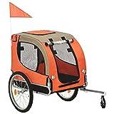 vidaXL Remolque de Bicicleta para Perros Mascotas Animales Viaje Carritos Sillitas Paseo Transporte Parque Accesorios Ciclismo Deporte Naranja y Gris