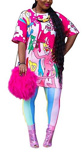 Speedle Women 2 Piece Graffiti Carton Short Sleeves T-Shirt Top + Long Bodycon Colorful Striped Pants Set Pink S